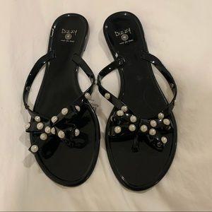 Dizzy Pearly Black Jelly Flat Thong Slip On Flip Flops Size 6